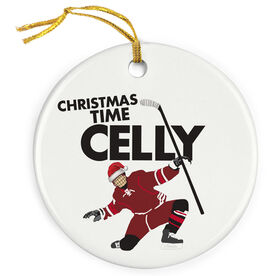 Hockey Porcelain Ornament Christmas Time Celly