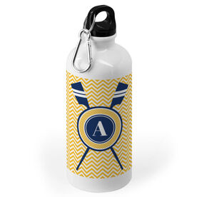 Crew 20 oz. Stainless Steel Water Bottle - Single Initial with Crossed Oars and Chevron