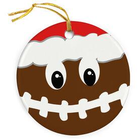 Football Porcelain Ornament Smiley Face Santa