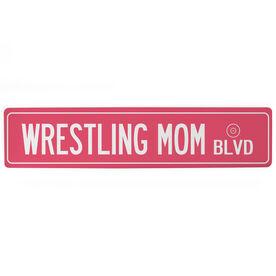 """Wrestling Aluminum Room Sign - Wrestling Mom Blvd (4""""x18"""")"""