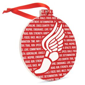Cross Country Round Ceramic Ornament - Inspirational Words Winged Foot