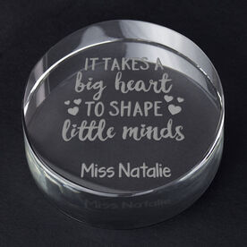Personalized Teacher Engraved Crystal Gift - Big Heart Little Minds
