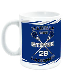 Guys Lacrosse Coffee Mug Personalized Crossed Sticks