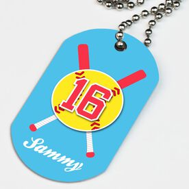 Softball Printed Dog Tag Necklace Personalized Crossed Bats and Ball
