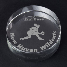 Softball Personalized Engraved Crystal Gift - Player Silhouette with Custom Text (Fielder)