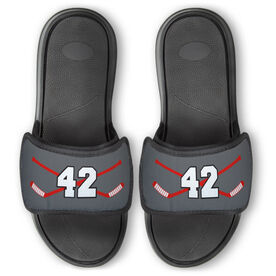 Hockey Repwell™ Slide Sandals - Hockey Crossed Sticks with Number