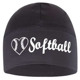 Beanie Performance Hat - Heart To Play Softball with Ball (White Lettering)