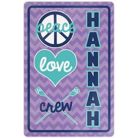 "Crew 18"" X 12"" Aluminum Room Sign Personalized Peace Love Crew Chevron"