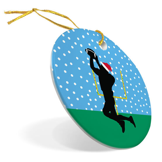 Football Porcelain Ornament Silhouette With Santa Hat