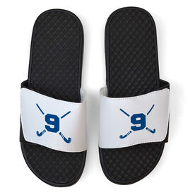 Field Hockey White Slide Sandals - Crossed Field Hockey Sticks with Numbers