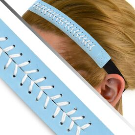 Authentic Softball Stitch Leather Headband Teal