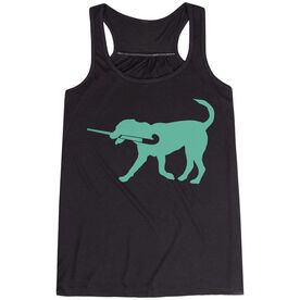 Field Hockey Flowy Racerback Tank Top - Field Hockey Dog - Mint TRANSFER
