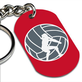 Volleyball Printed Dog Tag Keychain Volleyball Player Silhouette