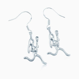 Silver Lacrosse Girl (Stick Figure) Earrings