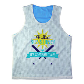 Girls Softball Racerback Pinnie Personalized Hello Sunshine It's Softball Time Teal