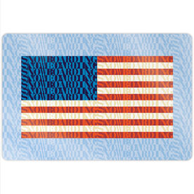 "Snowboarding 18"" X 12"" Aluminum Room Sign - American Flag Mosaic"