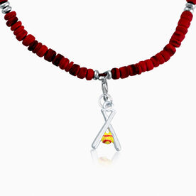 Natural SportBEAD Adjustable Necklace - Softball Crossed Bat and Yellow Ball Charm