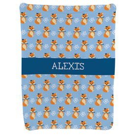 Field Hockey Baby Blanket - Field Hockey Fox Pattern