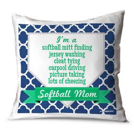 Softball Throw Pillow Softball Mom Poem