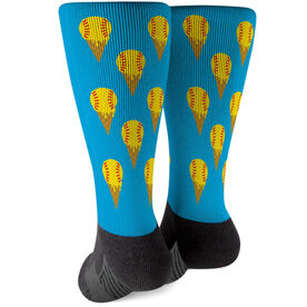 Softball Printed Mid-Calf Socks - Scream For Ice Cream