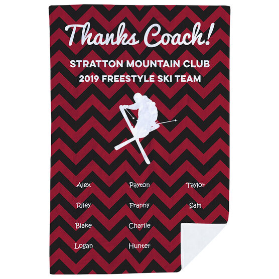 Skiing Premium Blanket - Personalized Thanks Coach Chevron
