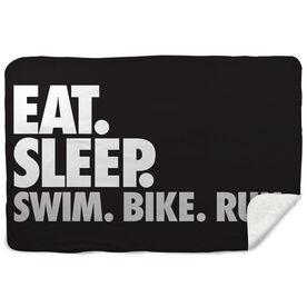 Triathlon Sherpa Fleece Blanket - Eat. Sleep. Swim. Bike. Run. Horizontal