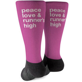 Running Printed Mid-Calf Socks - Peace Love & Runner's High