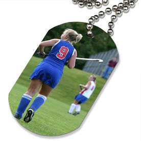 Custom Field Hockey Photo Printed Dog Tag Necklace