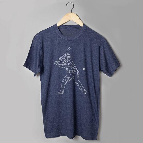 Baseball Short Sleeve T-Shirt - Baseball Player Sketch