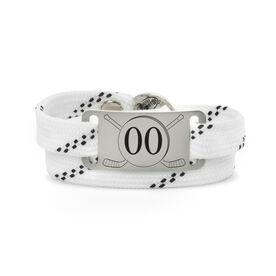 Adjustable Hockey Lace Bracelet With Slider - Number With Crossed Hockey Sticks