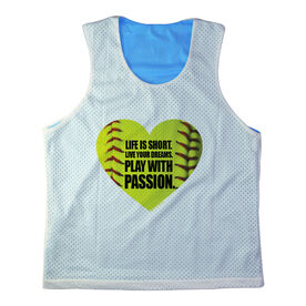 Girls Softball Racerback Pinnie Personalized Life Is Short. Live Your Dreams. Play With Passion.