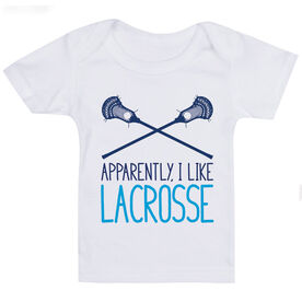 Guys Lacrosse Baby T-Shirt - Apparently, I Like Lacrosse