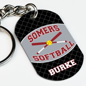 Softball Printed Dog Tag Keychain Personalized Softball Team with Crossed Bats