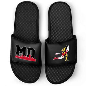 Guys Lacrosse Black Slide Sandals - Maryland Lacrosse