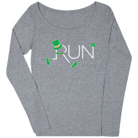 Women's Runner Scoop Neck Long Sleeve Tee - Let's Run Lucky