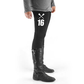 Girls Lacrosse High Print Leggings - Crossed Sticks With Number