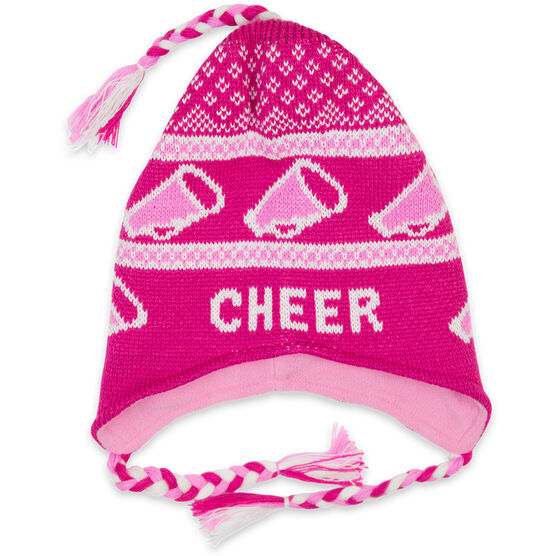 Fleece Lined Knit CHEER Hat Pink/White