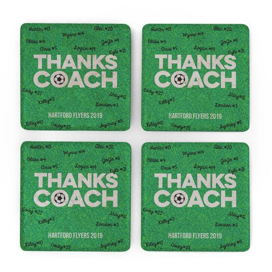 Soccer Stone Coasters Set of Four - Coach (Autograph)