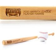 Engraved Mini Baseball Bat - Logo With Text