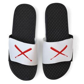Softball White Slide Sandals - Crossed Bats