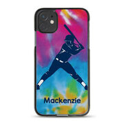 Softball iPhone® Case - Personalized Batter With Tie-Dye
