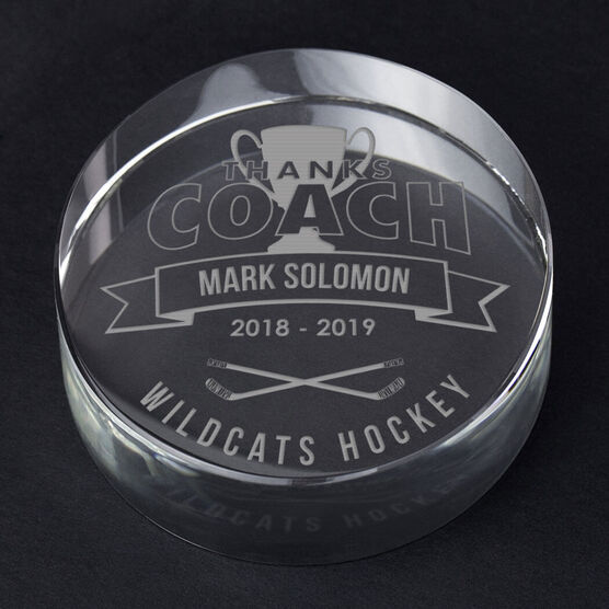 Hockey Personalized Engraved Crystal Puck - Thanks Coach Banner