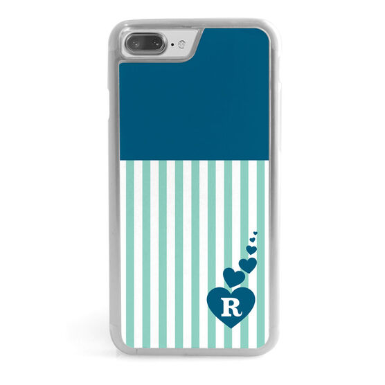 Personalized Iphone Case Striped Heart Monogram