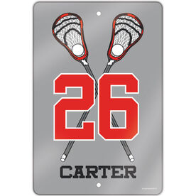 """Lacrosse Aluminum Room Sign (18""""x12"""") Personalized Lacrosse Crossed Sticks with Big Number"""