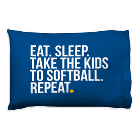 Softball Pillow Case - Eat Sleep Take The Kids to Softball