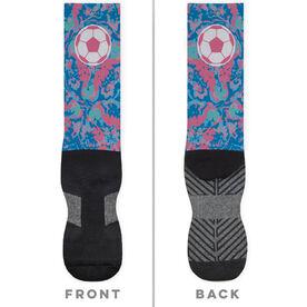 Soccer Printed Mid-Calf Socks - Floral