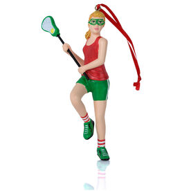 Girls Lacrosse Ornament - Lacrosse Player Figure
