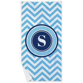 Swimming Premium Beach Towel - Single Letter Monogram with Chevron