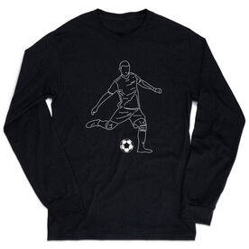 Soccer Tshirt Long Sleeve - Soccer Guy Player Sketch