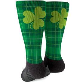 Printed Mid-Calf Socks - St. Patrick's Day Plaid
